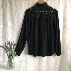 Who What Wear Black Blouse Mock Neck Long Sleeve S